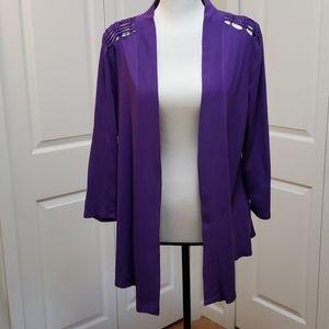New York & Company Purple Drape Open Cardigan M